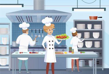 mulheres na cozinha profissional